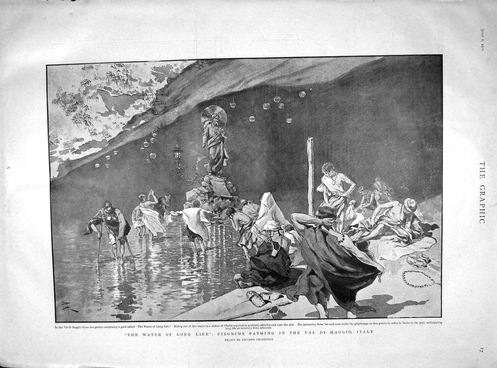 [Print 1901 Pilgrims Bathing Val Maggio Italy Manners Asquith 017M164 Old Original]