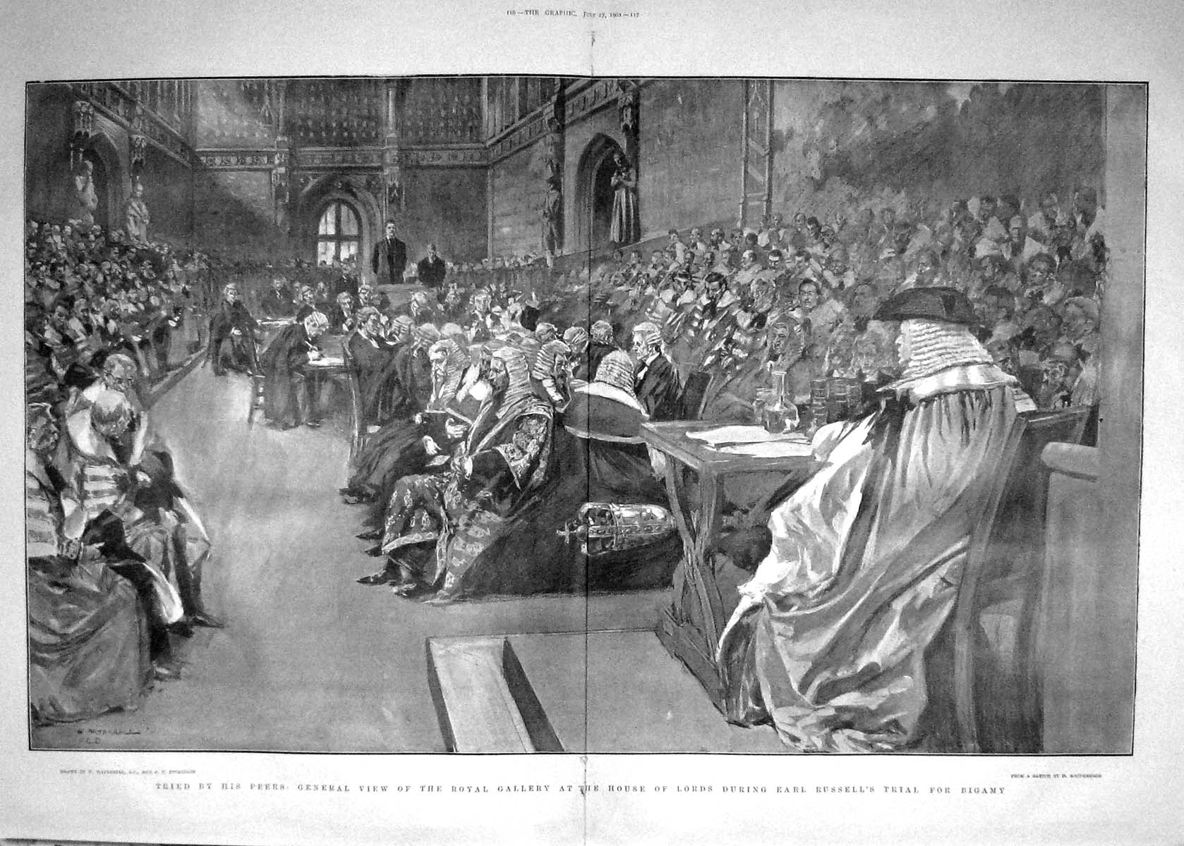 [Print 1901 Royal Gallery House Lords Earl Russell Bigamy 115Tm164 Old Original]