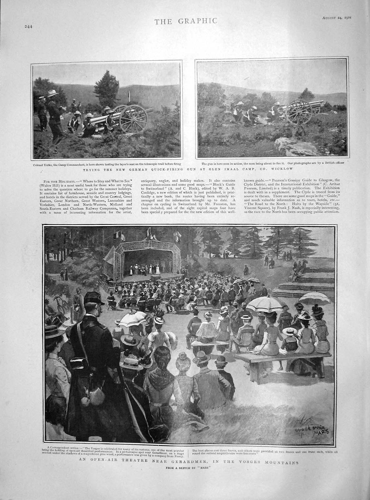 [Print 1901 Open-Air Theatre Vosges Mountains Imaal Wicklow 244M164 Old Original]