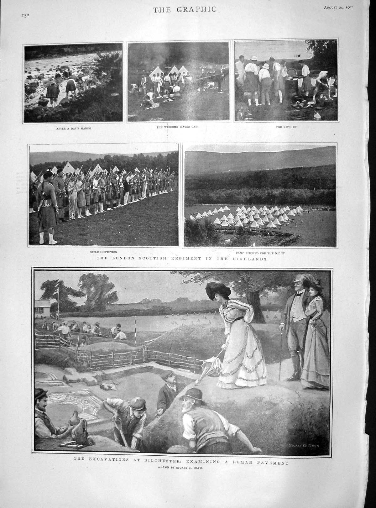 [Print 1901 Silchester Roman Pavement London Army Highlands 252M164 Old Original]