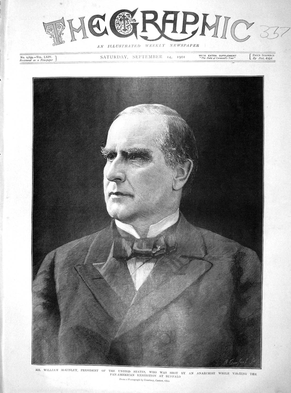 [Print 1901 William Mckinley President America Shot Buffalo 337M164 Old Original]