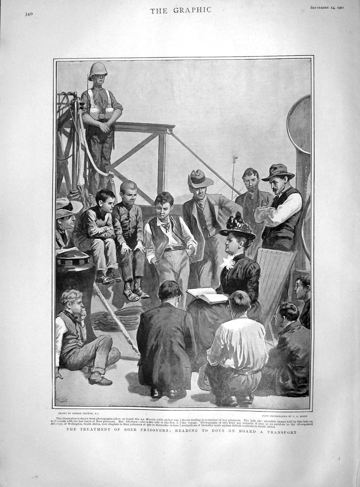 [Print 1901 Treatment Boer Prisoners Transport Ship Manila 340M164 Old Original]