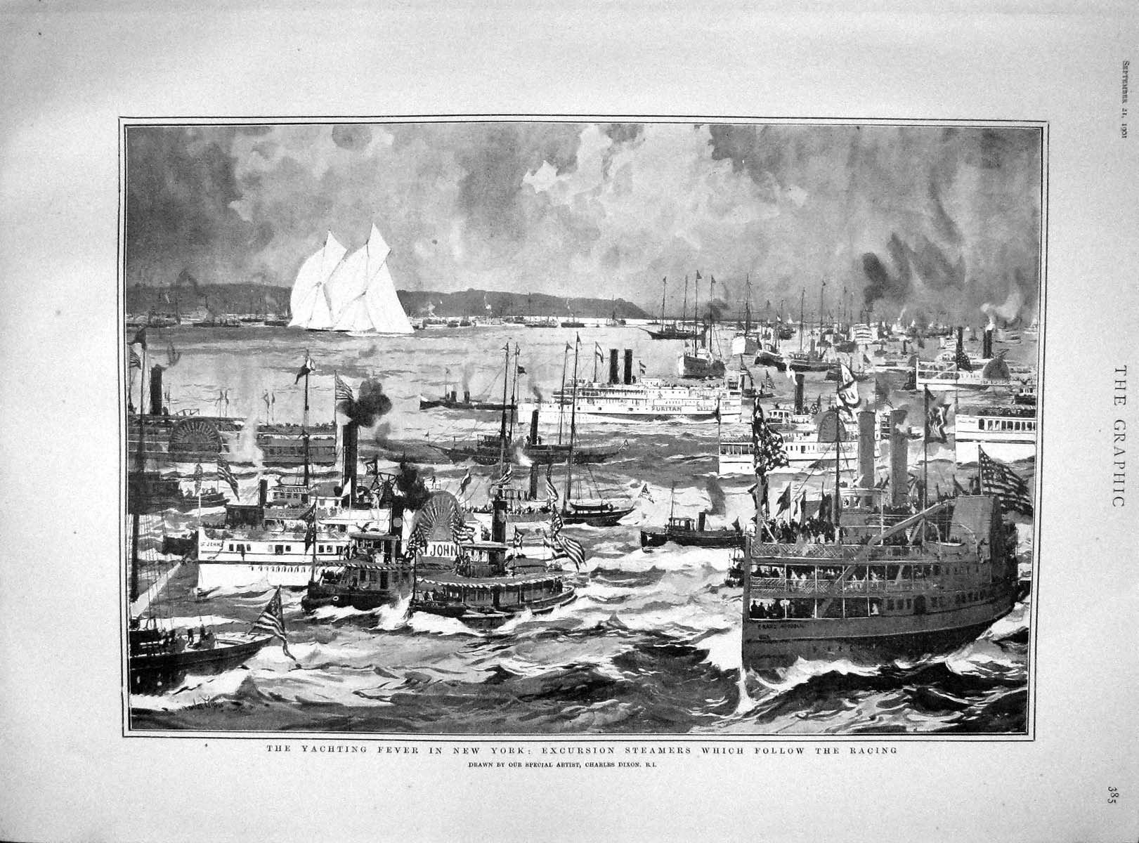 [Print 1901 Yachting New York Excursion Steamers Boats Sport 385M164 Old Original]
