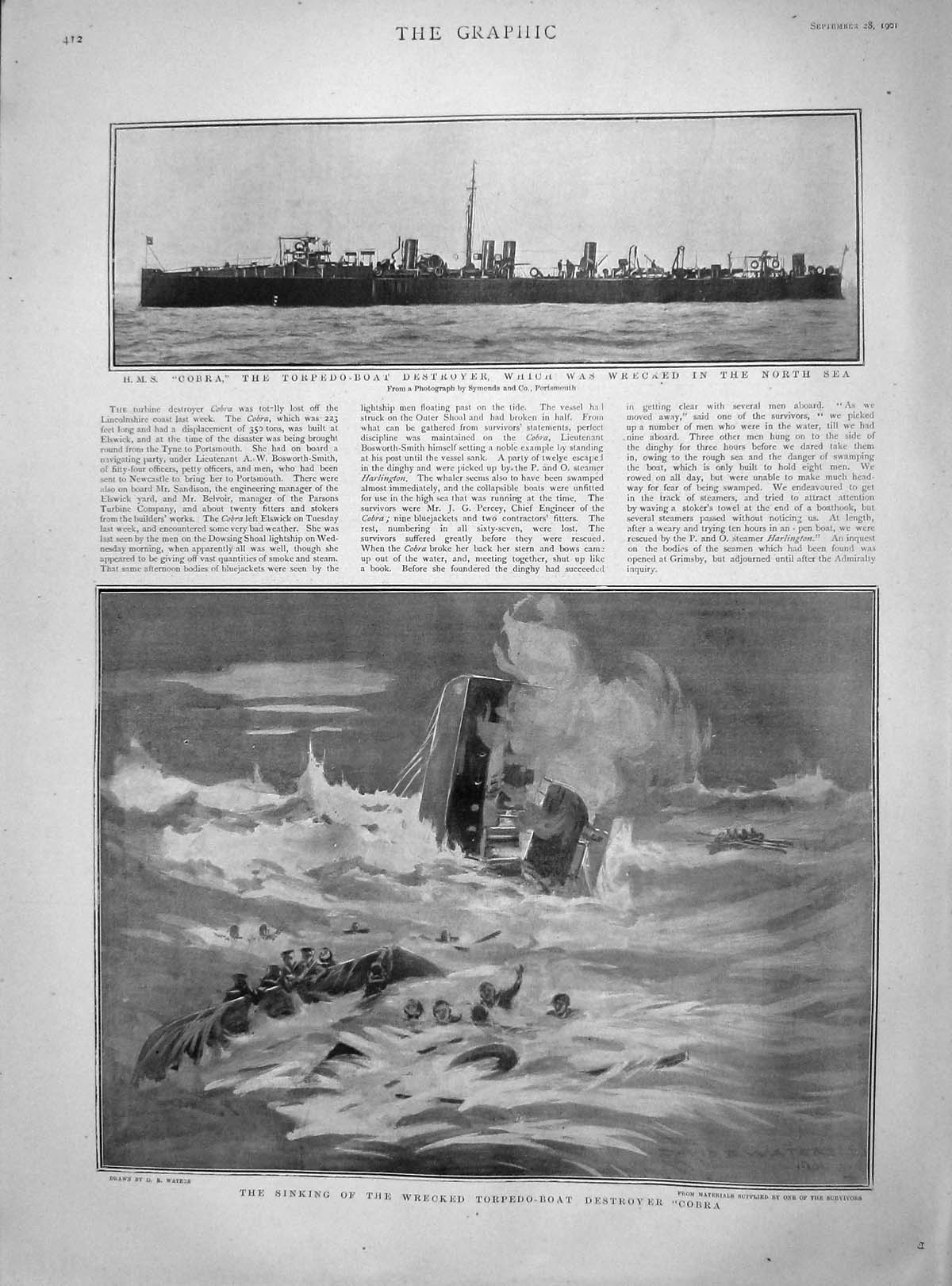 [Print 1901 Sinking Torpedo Boat Destroyer Cobra North Sea 412M164 Old Original]
