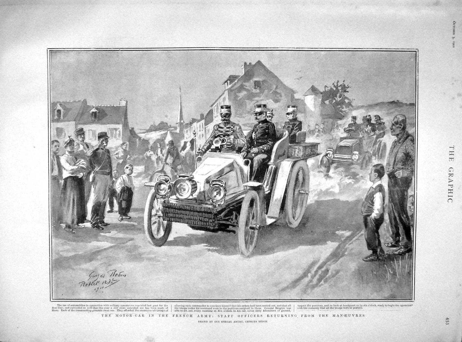 [Print 1901 Motor Car French Army Staff Officers Soldiers 453M164 Old Original]
