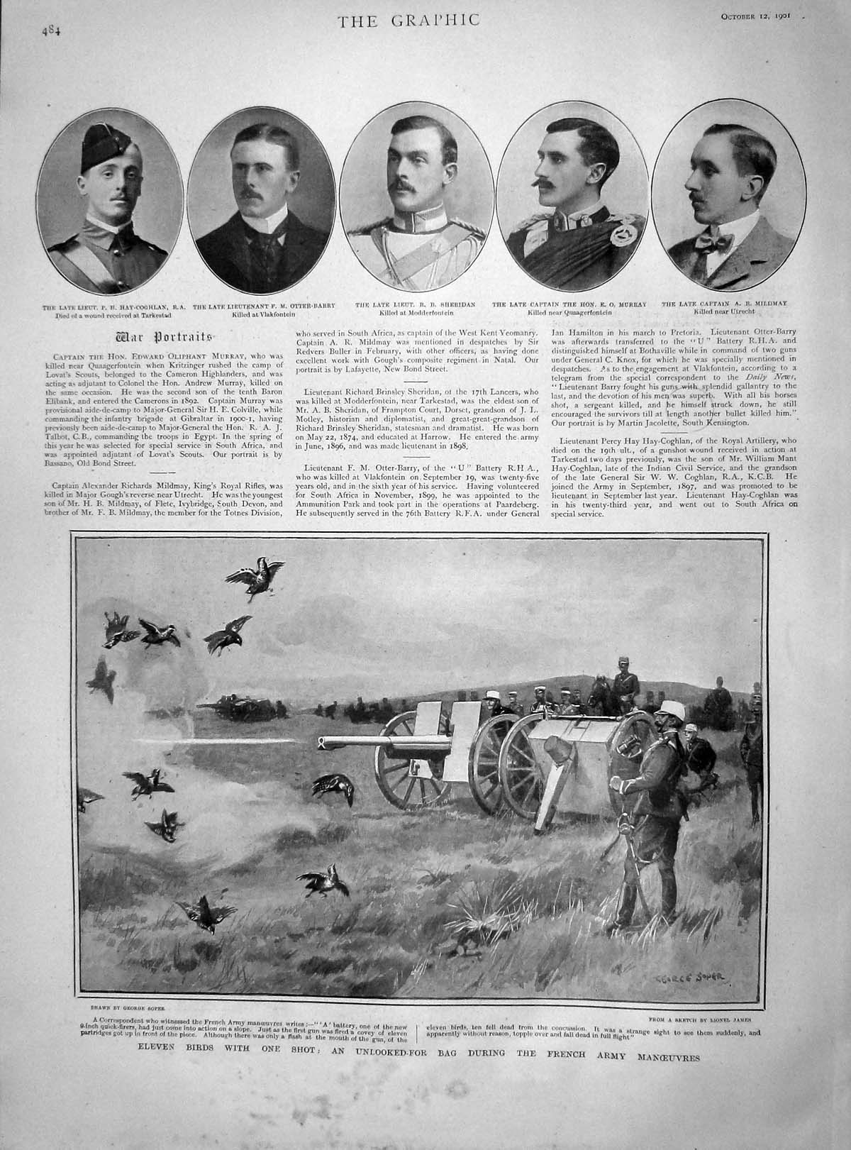 [Print 1901 Hay-Coghlan Otter-Barry Sheridan Murray French War 484M164 Old Original]