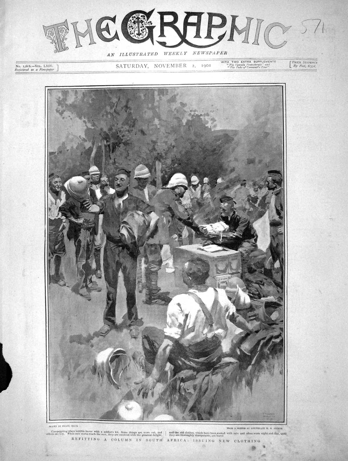 [Print 1901 Refitting Column South Africa Issuing Clothing 571M164 Old Original]