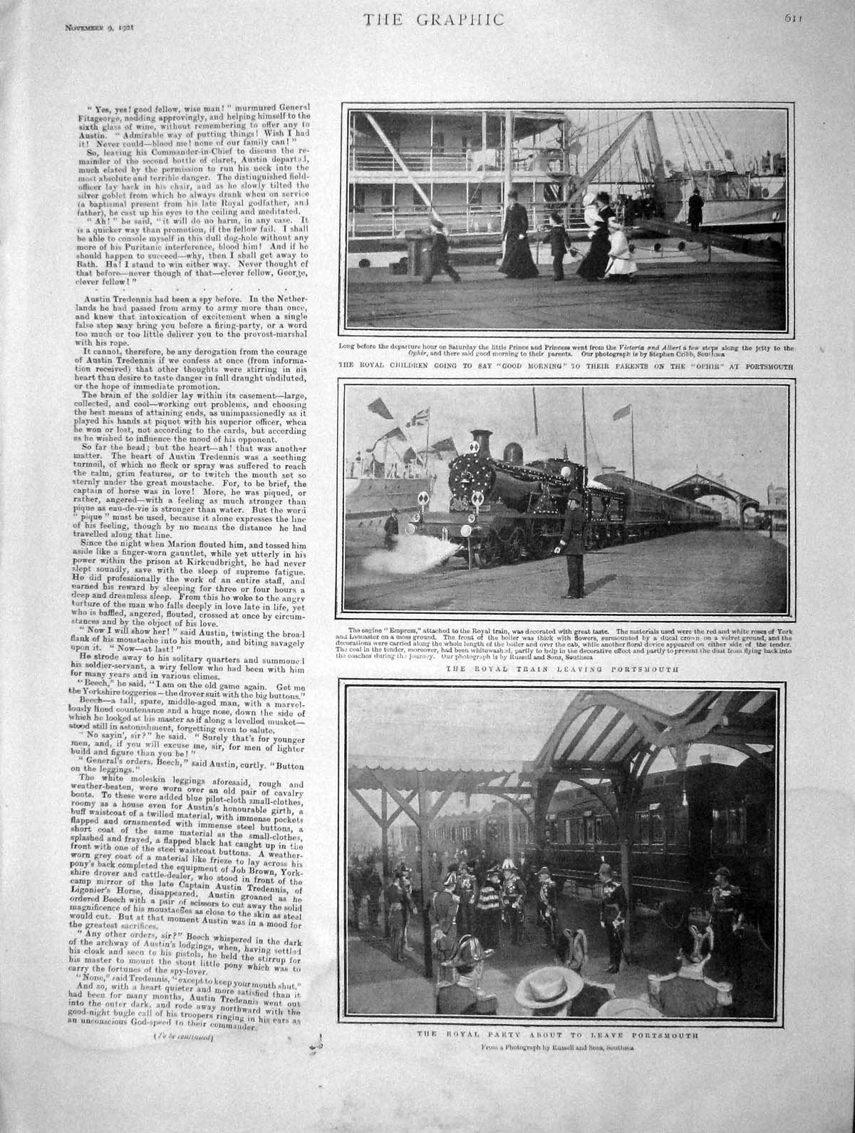 [Print 1901 Royal Party Portsmouth Train Ophir Ship England 611M164 Old Original]