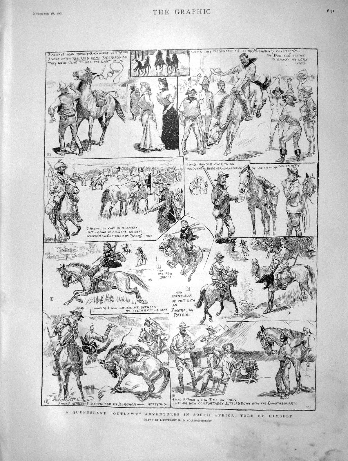 [Print 1901 Queensland Outlaw Adventures South Africa Story 641M164 Old Original]
