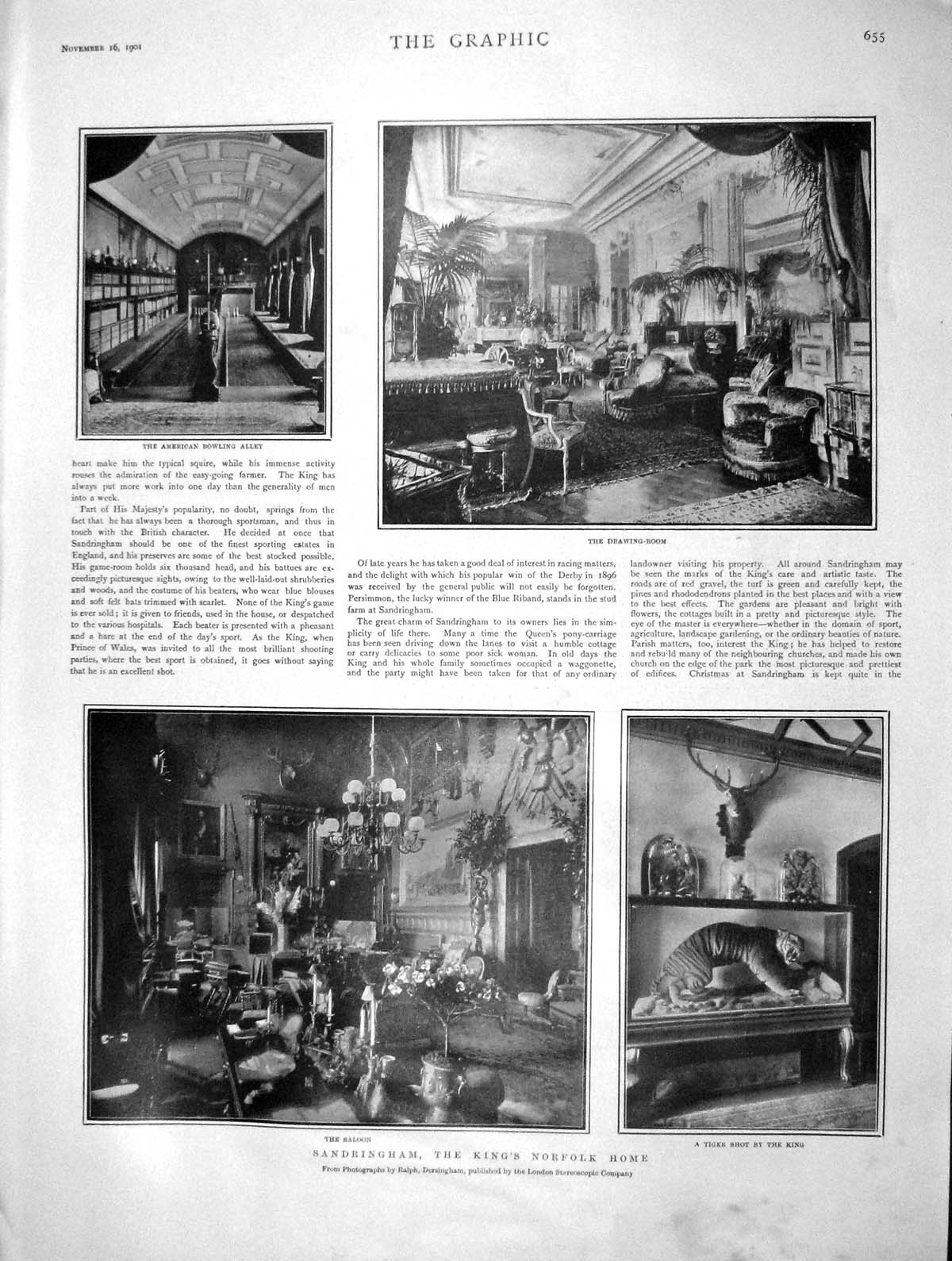 [Print 1901 Sandringham American Bowling Alley Drawing Room 655M164 Old Original]