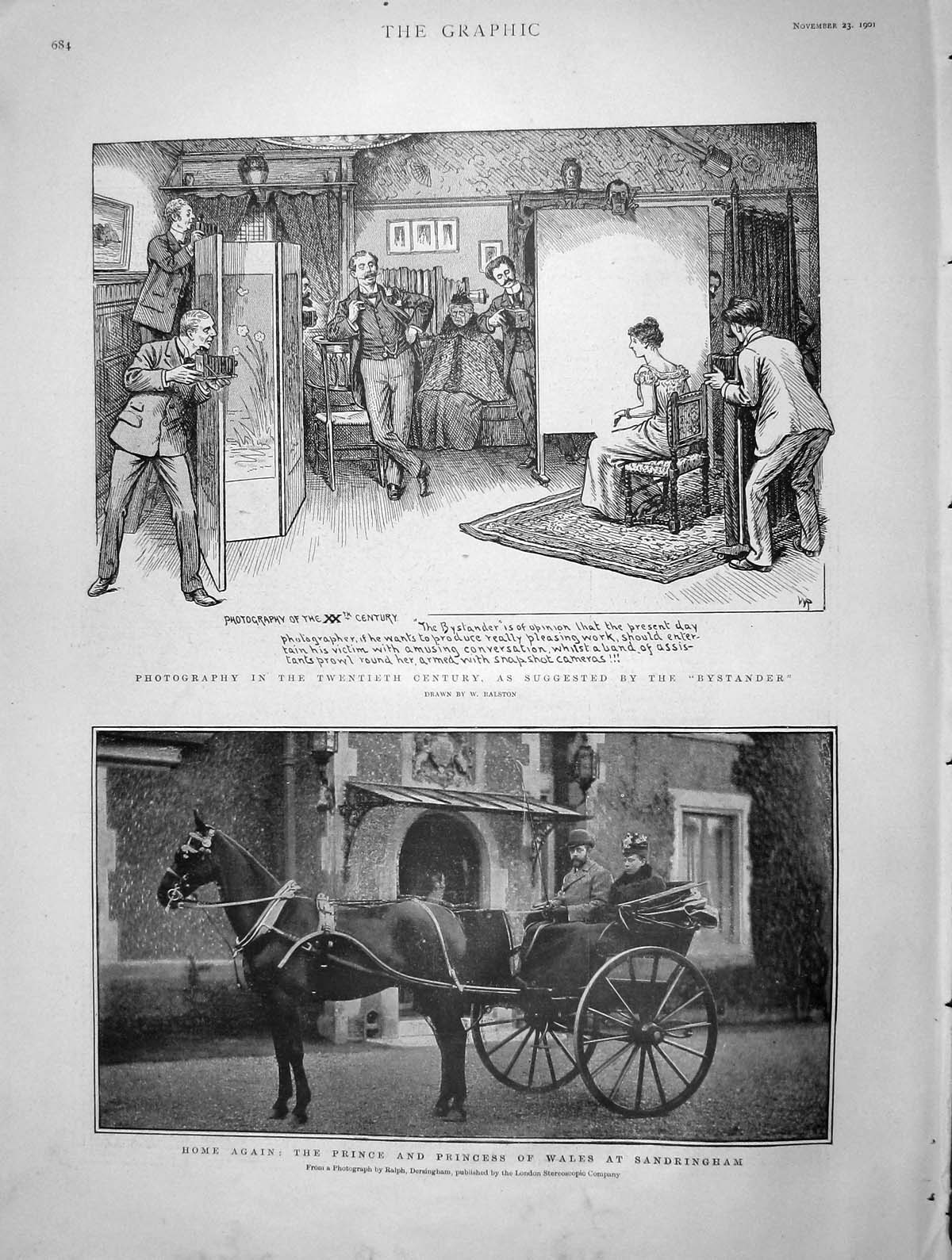 [Print 1901 Prince Wales Coach Sandringham Bystander Photo 684M164 Old Original]