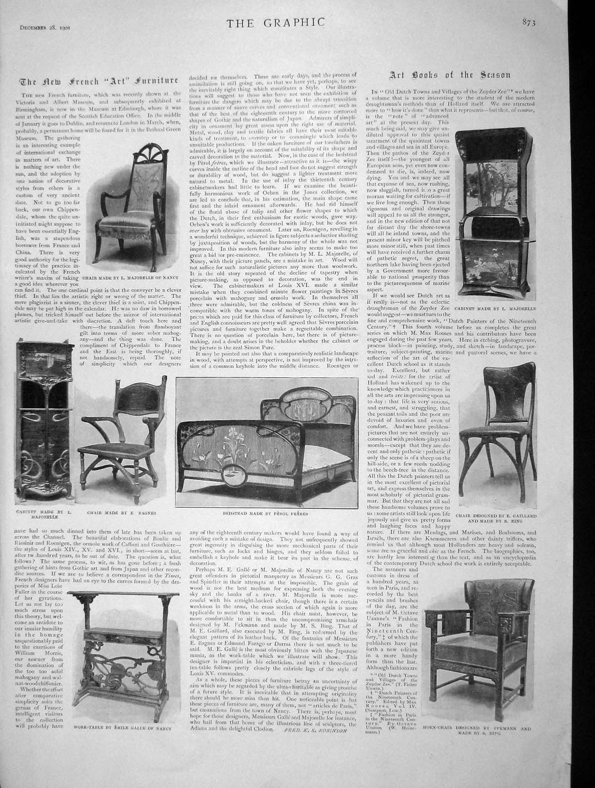 [Print 1901 French Furniture Chair Bedstead Cabinet Work-Table 873M164 Old Original]