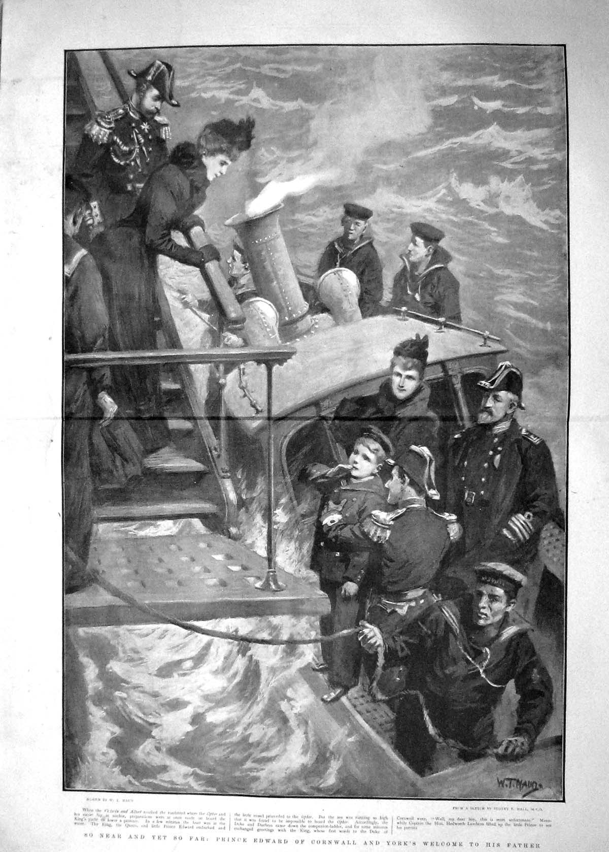 [Print 1901 Prince Edward Cornwall York Victoria Albert Ship 904Tm164 Old Original]