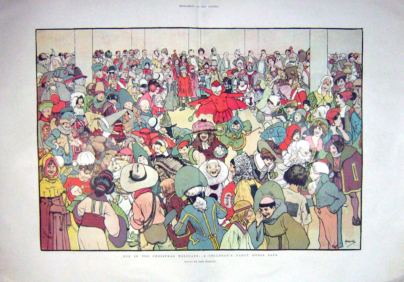 [Print 1901 Fun Christmas Holidays Children Fancy Dress Ball 906Tm164 Old Original]