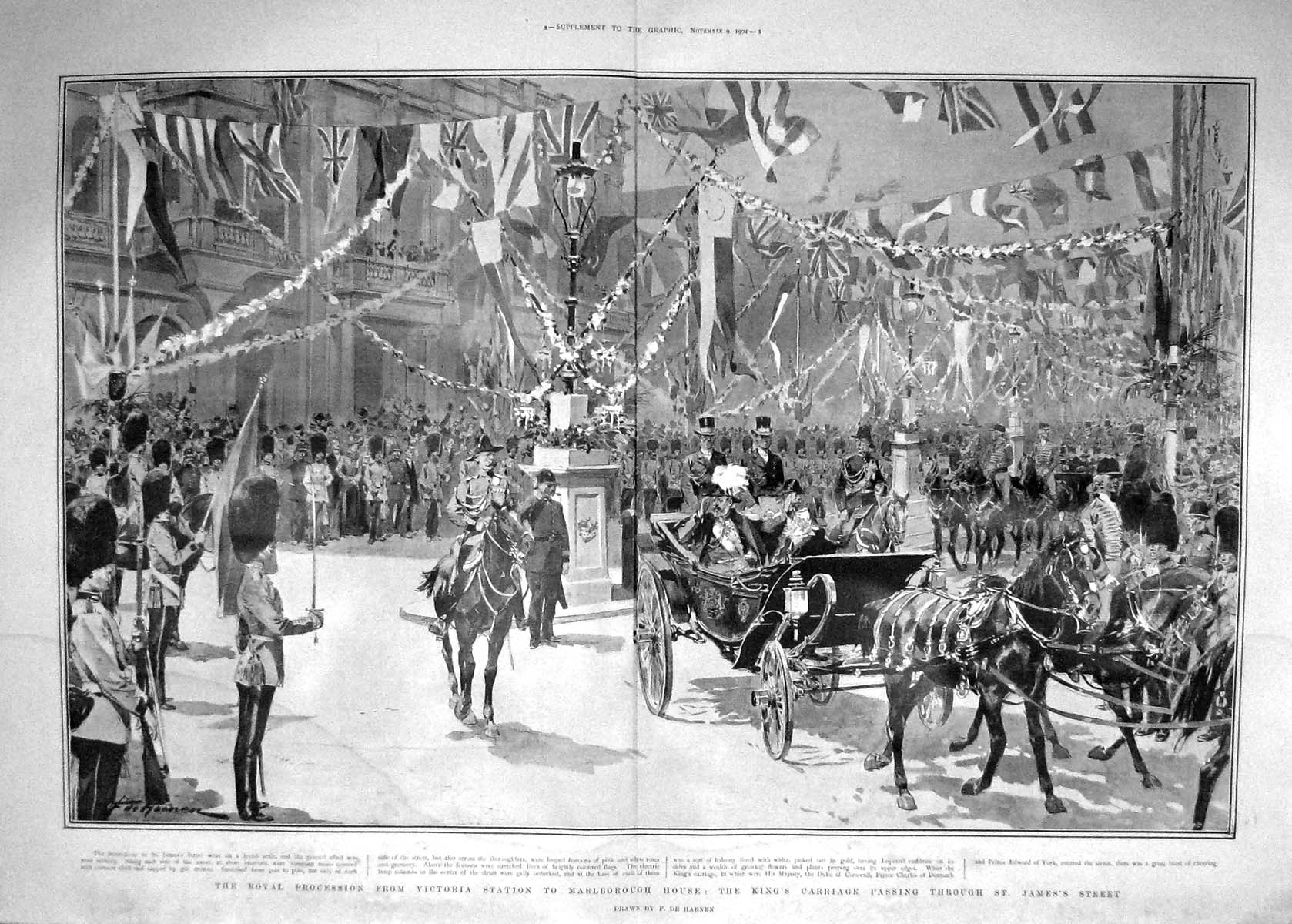 [Print 1901 King Carriage Procession James'S Marlborough House 907Tm164 Old Original]
