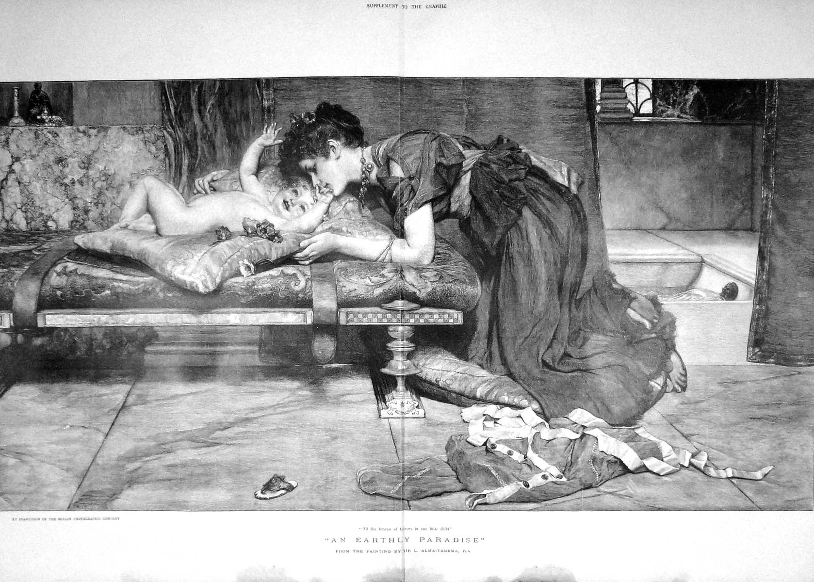 [Print 1901 Earthly Paradise Mother Baby Girl Alma-Tadema 909Tm164 Old Original]