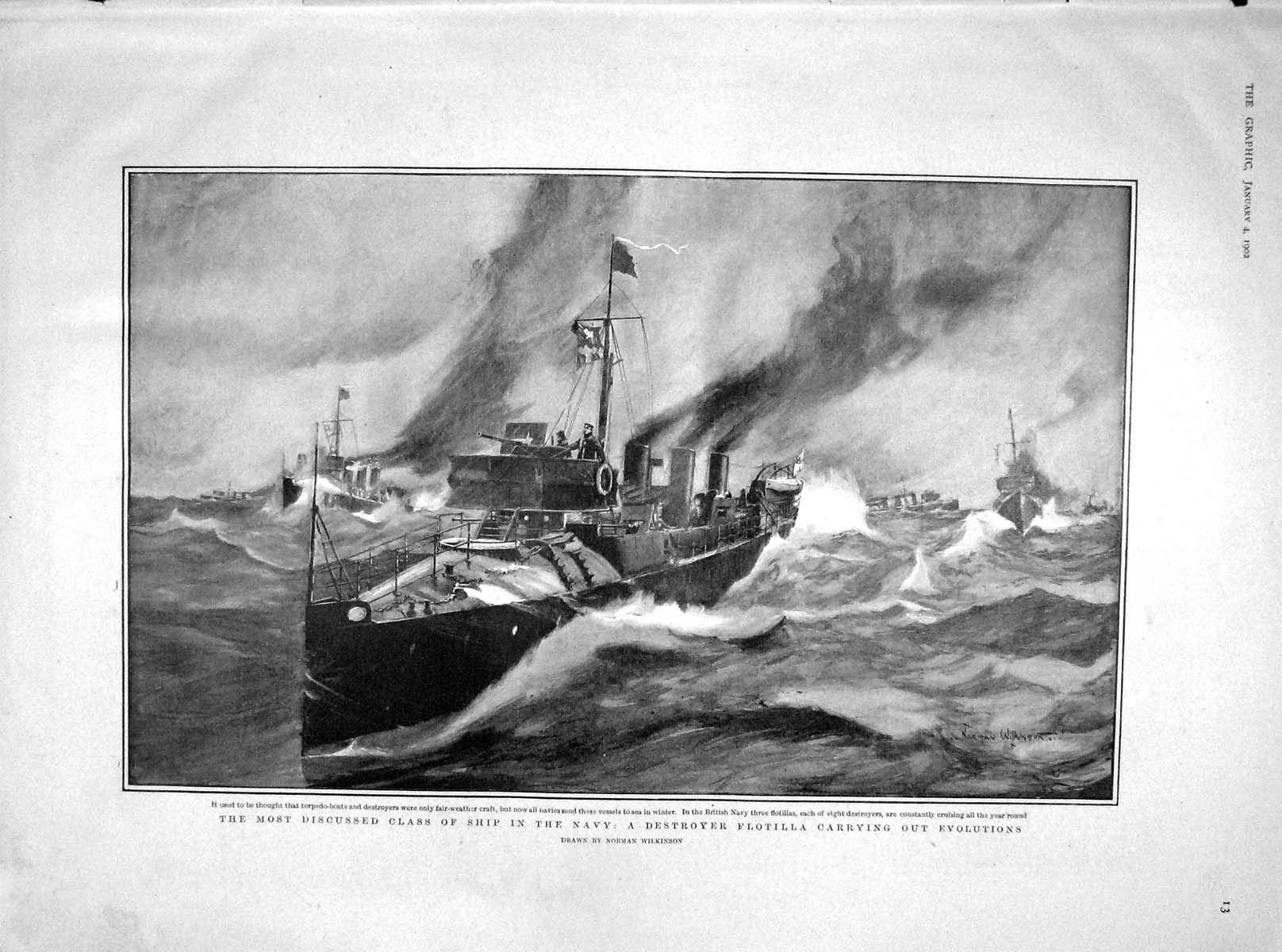 [Print 1902 Navy Ship Destroyer Birdwood Christmas Beef Baron 013M165 Old Original]