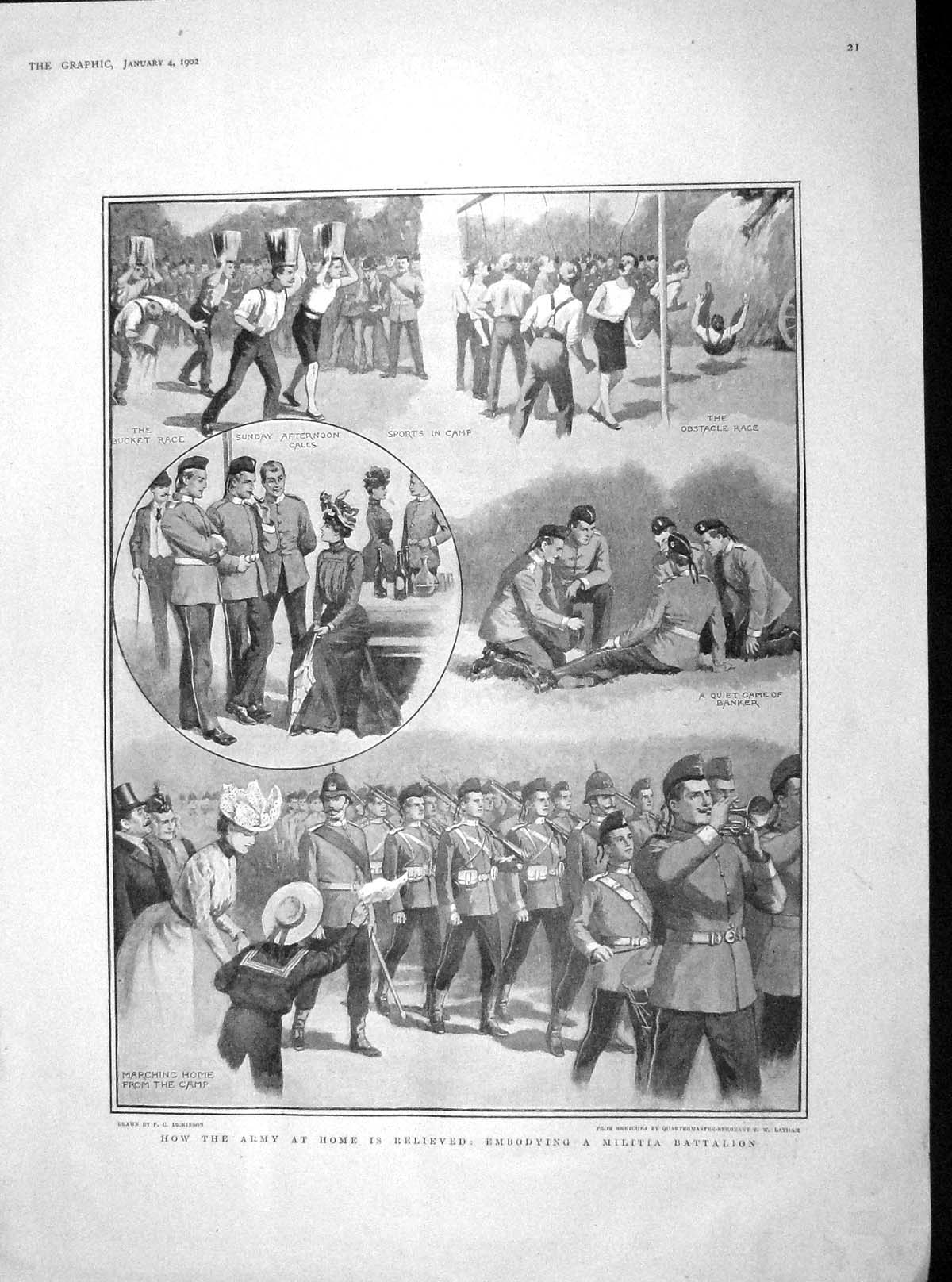 [Print 1902 Army Soldiers Militia Battalion Sport Hall Watts 021M165 Old Original]