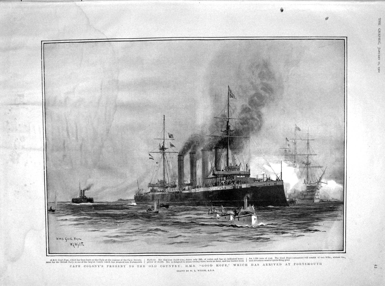 [Print 1902 Cape Colony H.M.S. Ship Good Hope Portsmouth  Old Original]