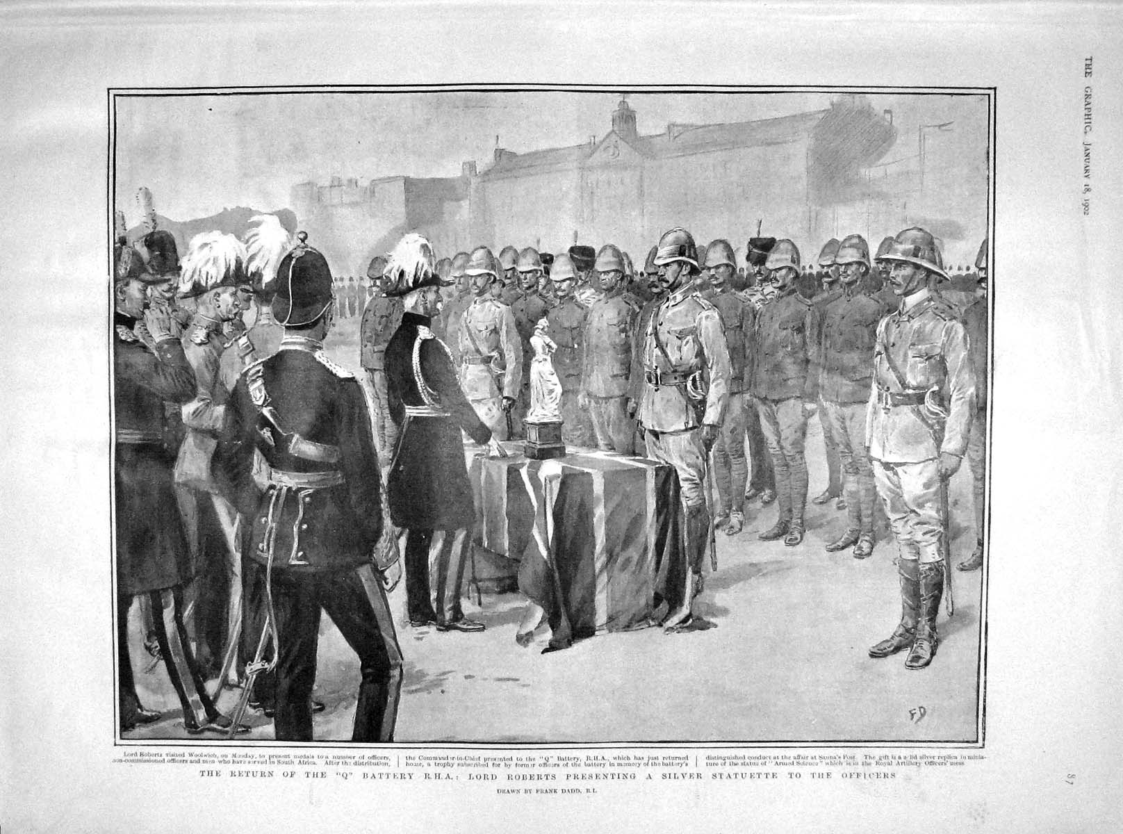 [Print 1902 Q Battery R.H.A. Lord Roberts Woolwich Soldiers 087M165 Old Original]