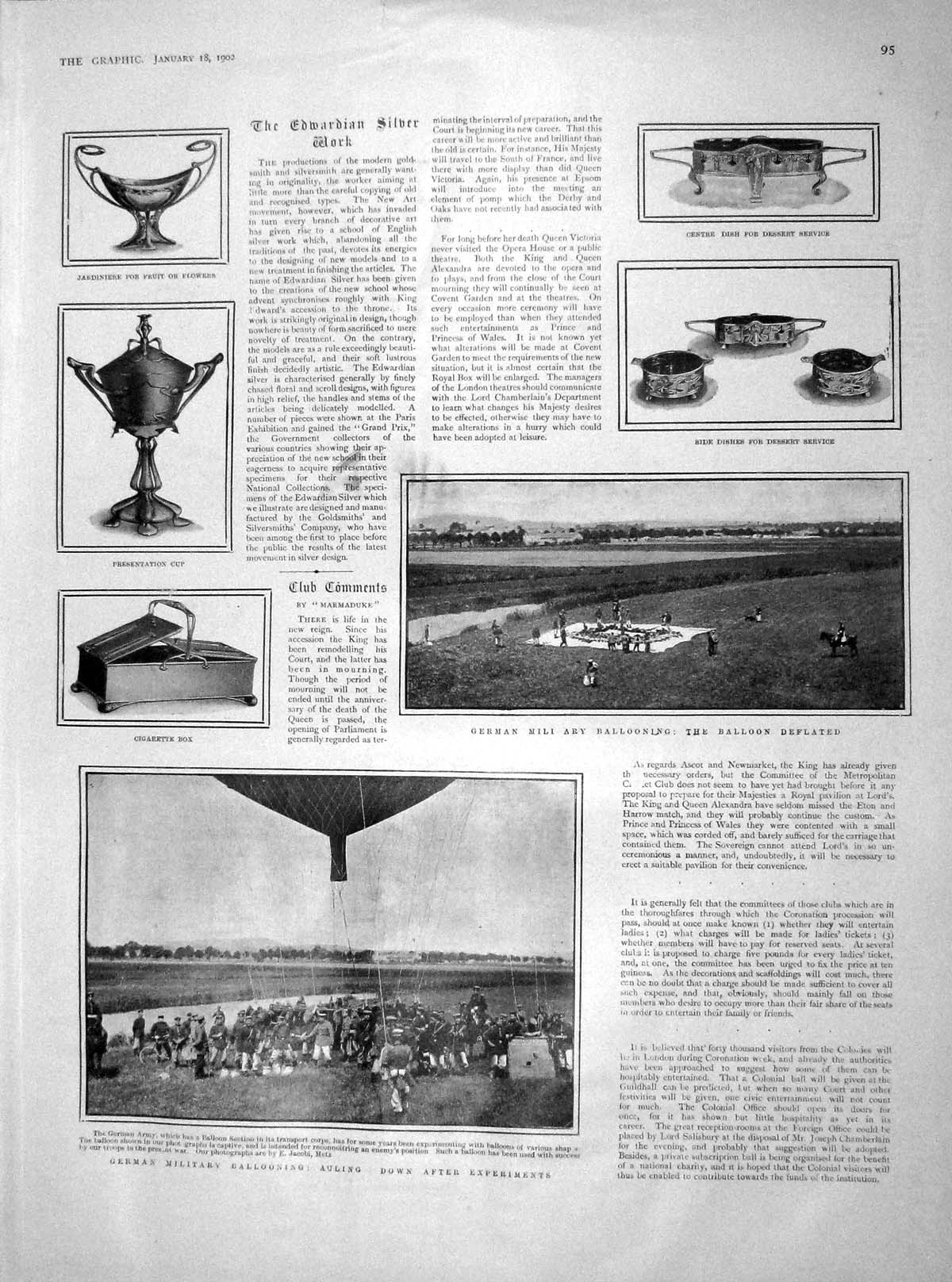 [Print 1902 German Military Ballooning Auling Soldiers Army 095M165 Old Original]