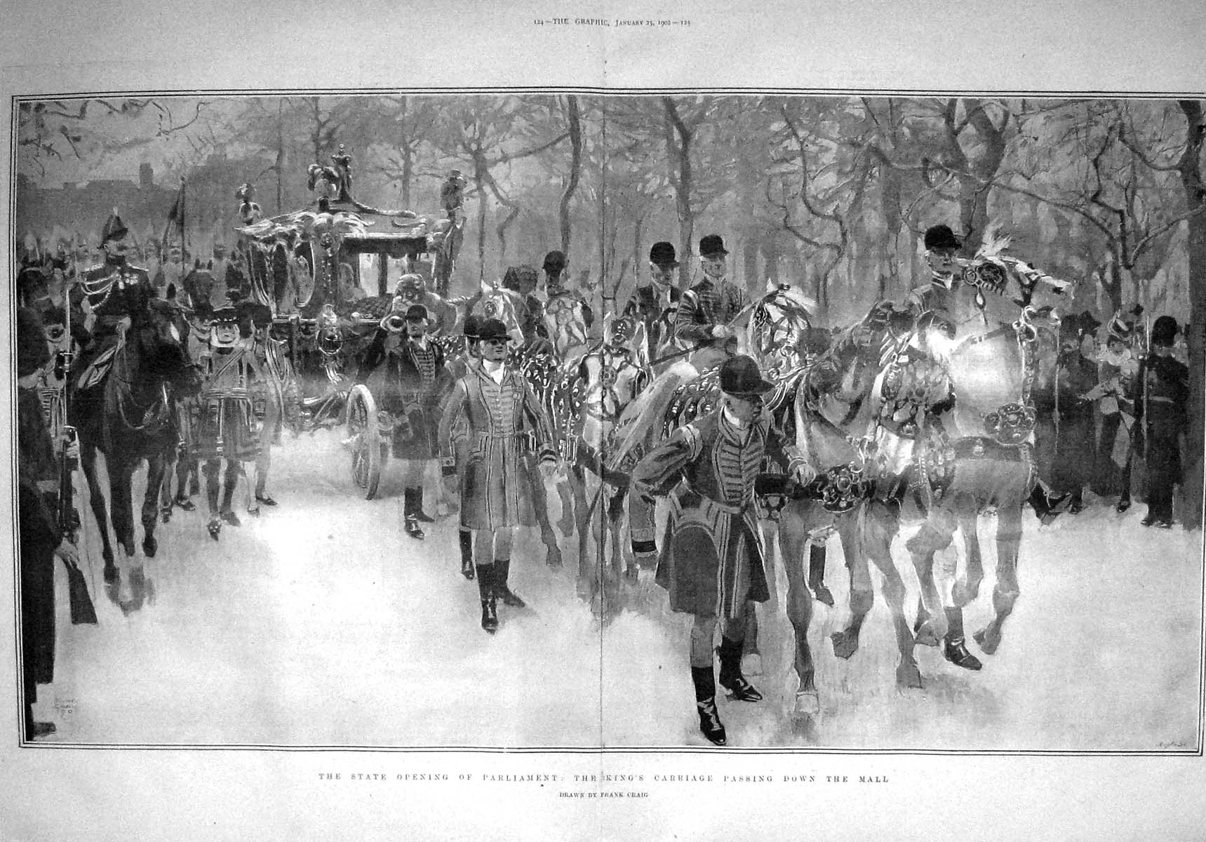 [Print 1902 King'S Carriage Mall Opening London Parliament 123Tm165 Old Original]