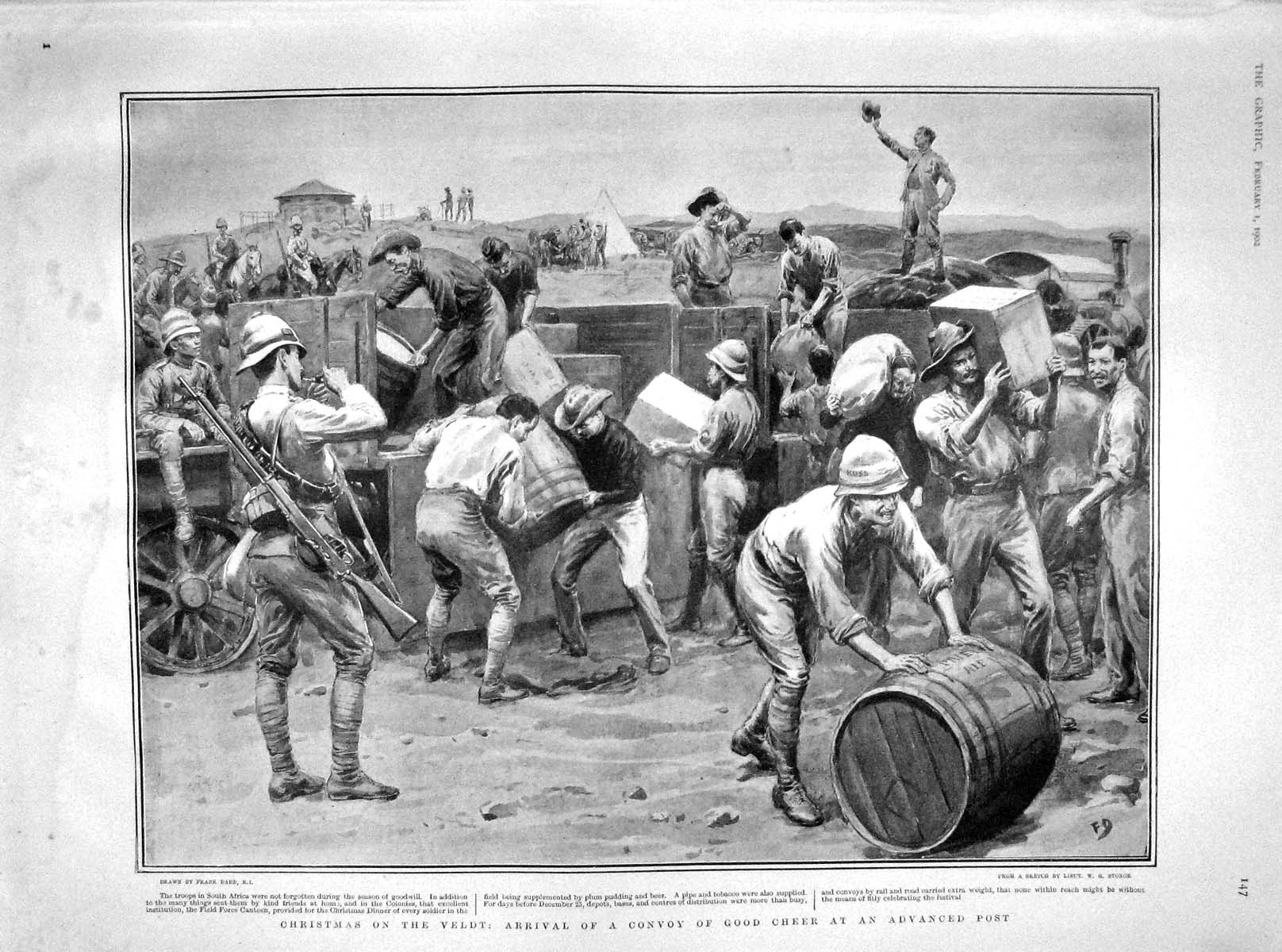 [Print 1902 Christmas Veldt Africa War Soldiers Beer Plum Pud 147M165 Old Original]