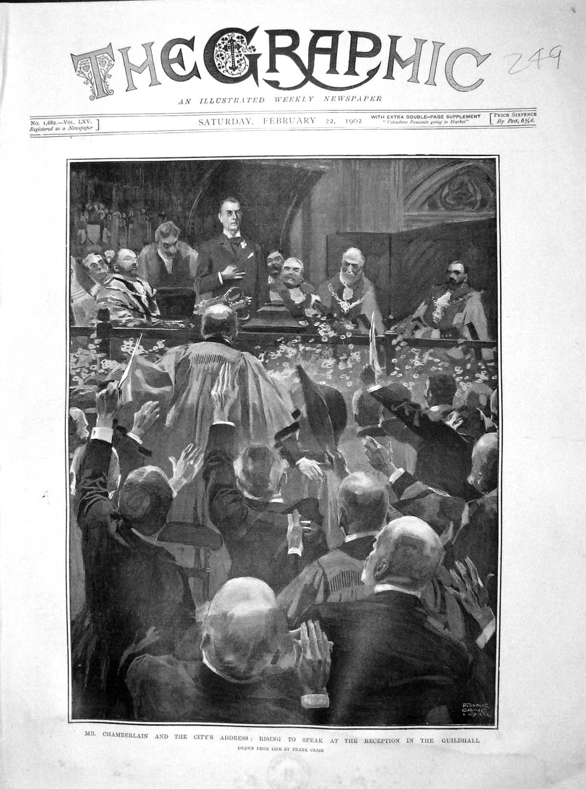 [Print 1902 Chamberlain Reception Guildhall Mayor Mansion 249M165 Old Original]