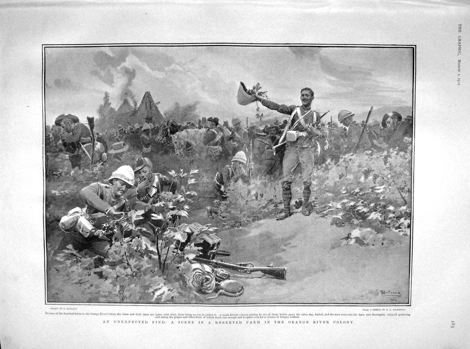 [Print 1902 Deserted Farm Orange River Colony Africa Soldiers  Old Original]