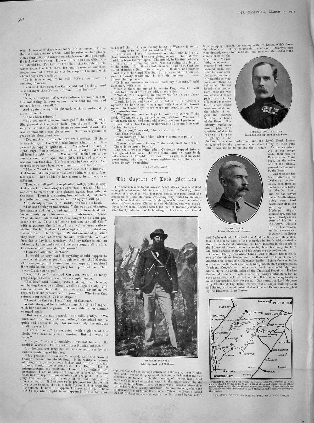[Print 1902 General Lord Methuen Major Paris Delarey Map War  Old Original]