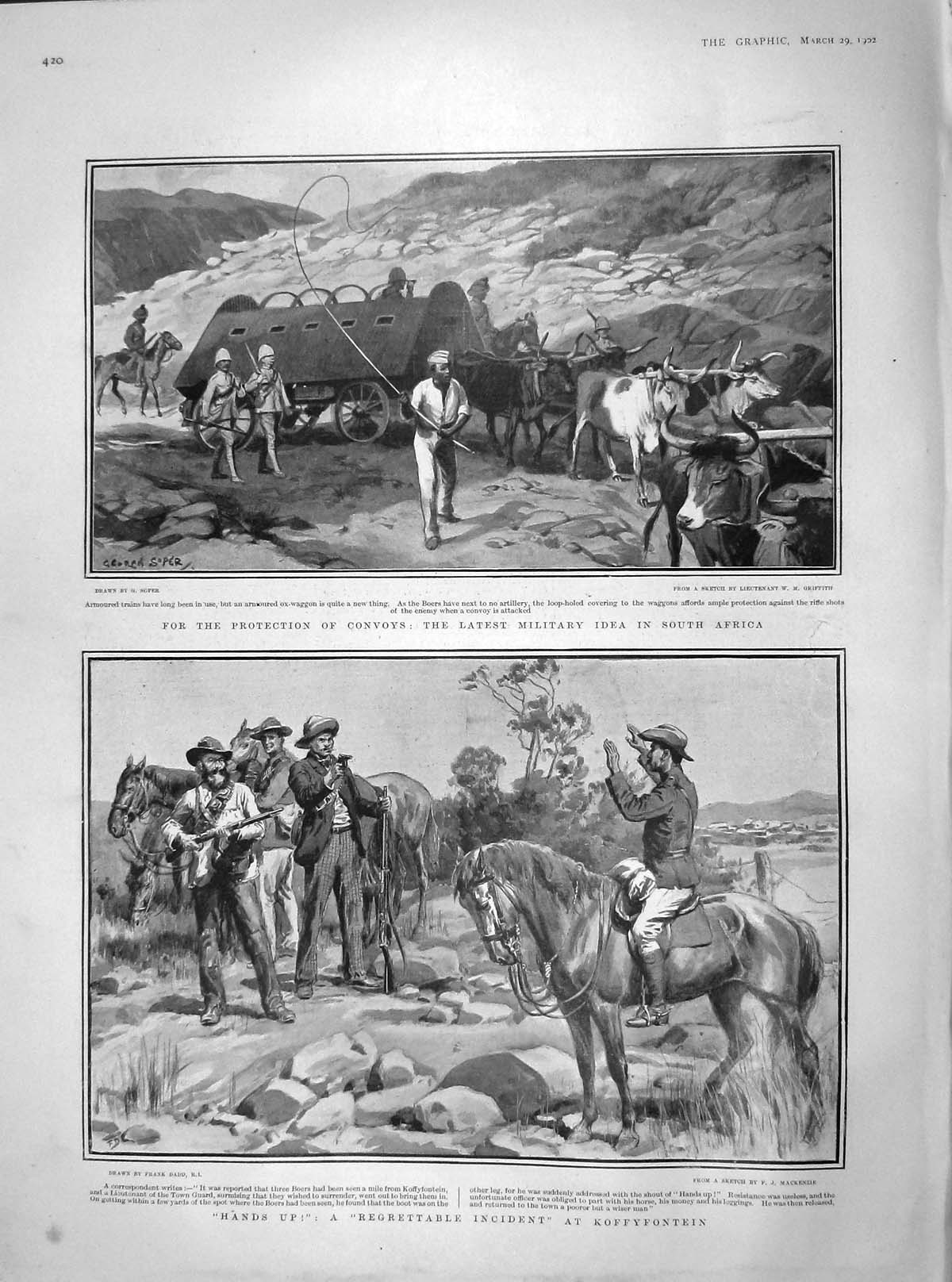 [Print 1902 Armoured Ox-Waggon Africa Koffyfontein War Boers  Old Original]