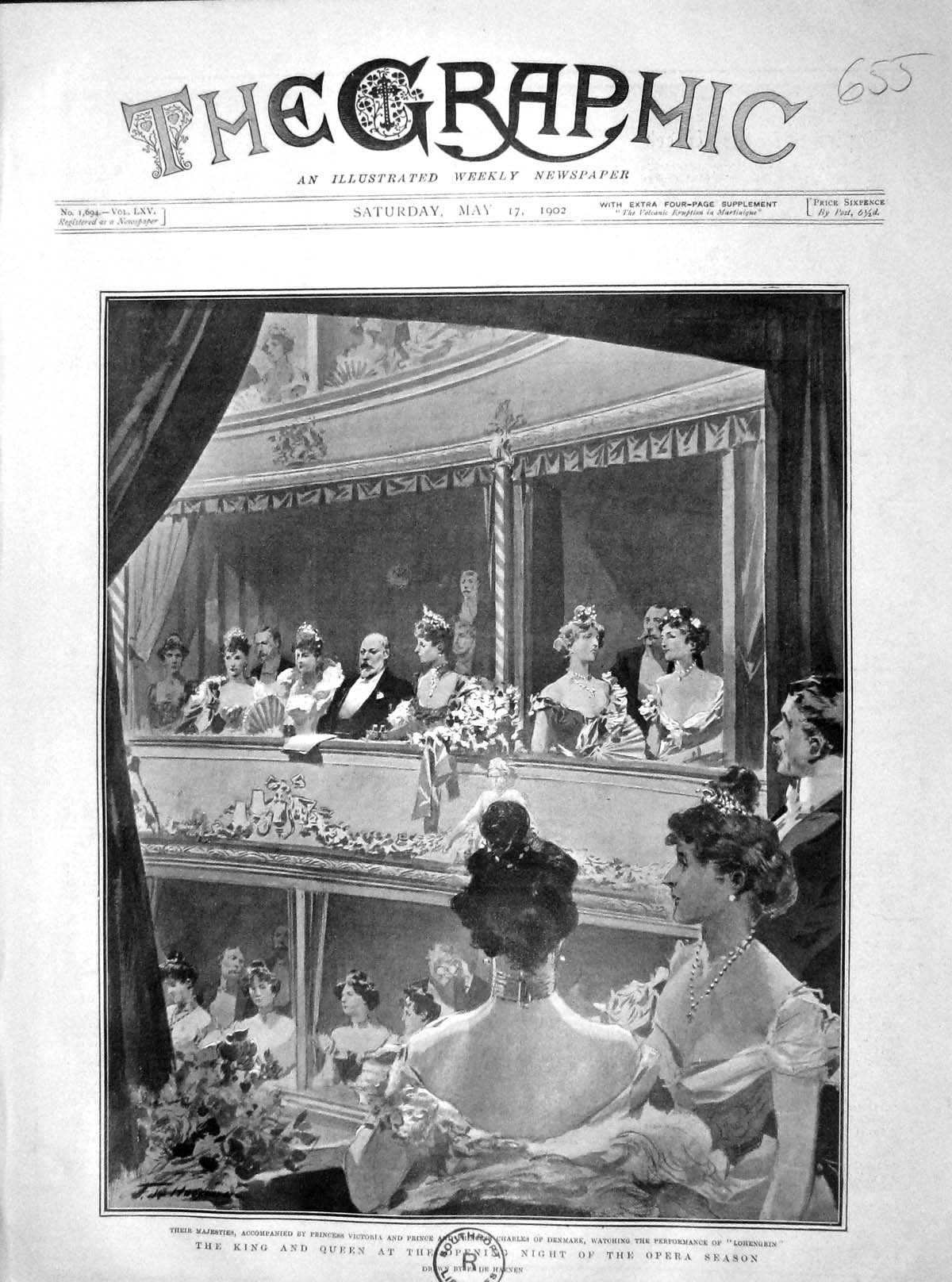 [Print 1902 King Queen Opera Princess Victoria Charles Denmark 655M165 Old Original]