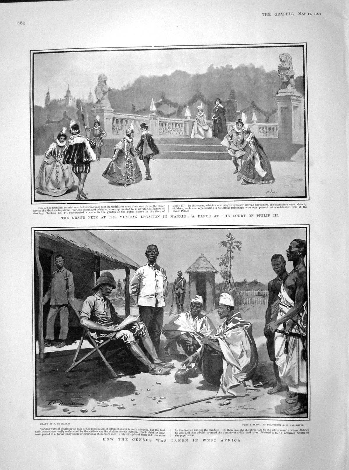 [Print 1902 Census War Africa Fete Mexican Madrid Court Philip 664M165 Old Original]