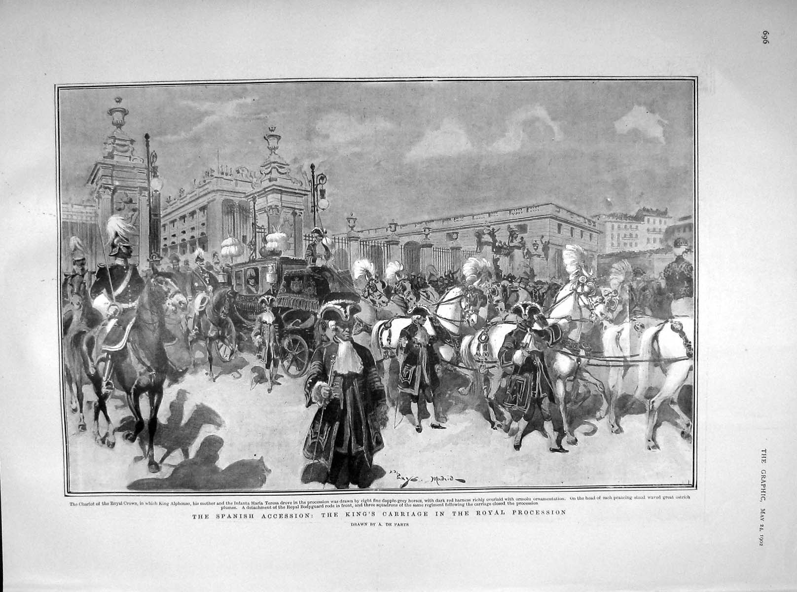 [Print 1902 King Alphonso Carriage Procession Spain Baby Maria 696M165 Old Original]