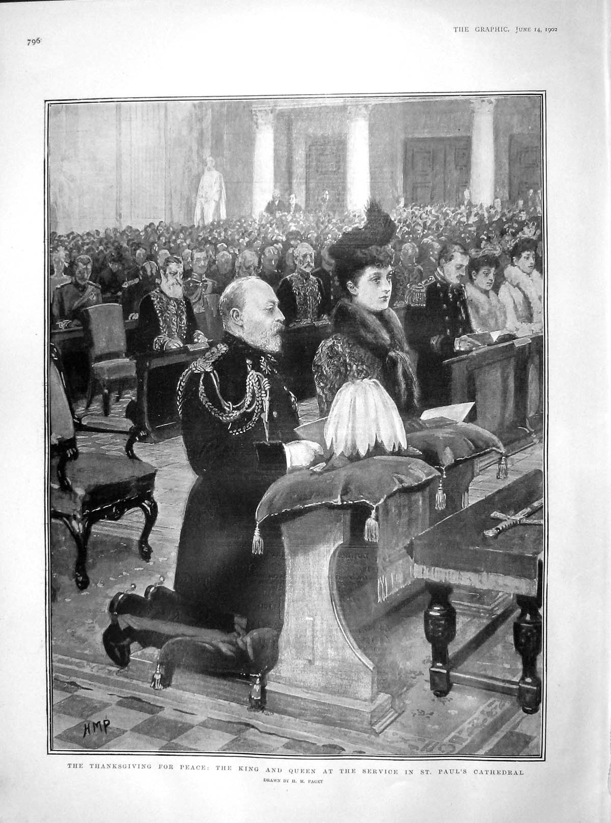[Print 1902 Thanksgiving King Queen Service Paul'S Cathedral 796M165 Old Original]