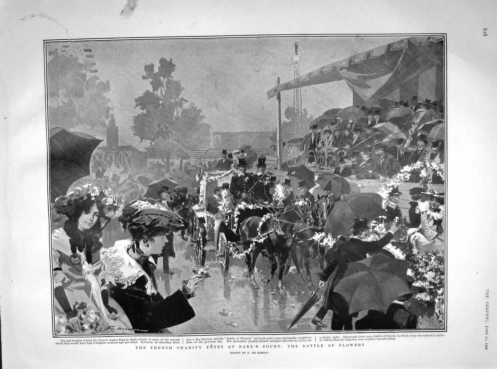 [Print 1902 French Charity Fetes Earl'S Court Battle Flowers 828M165 Old Original]