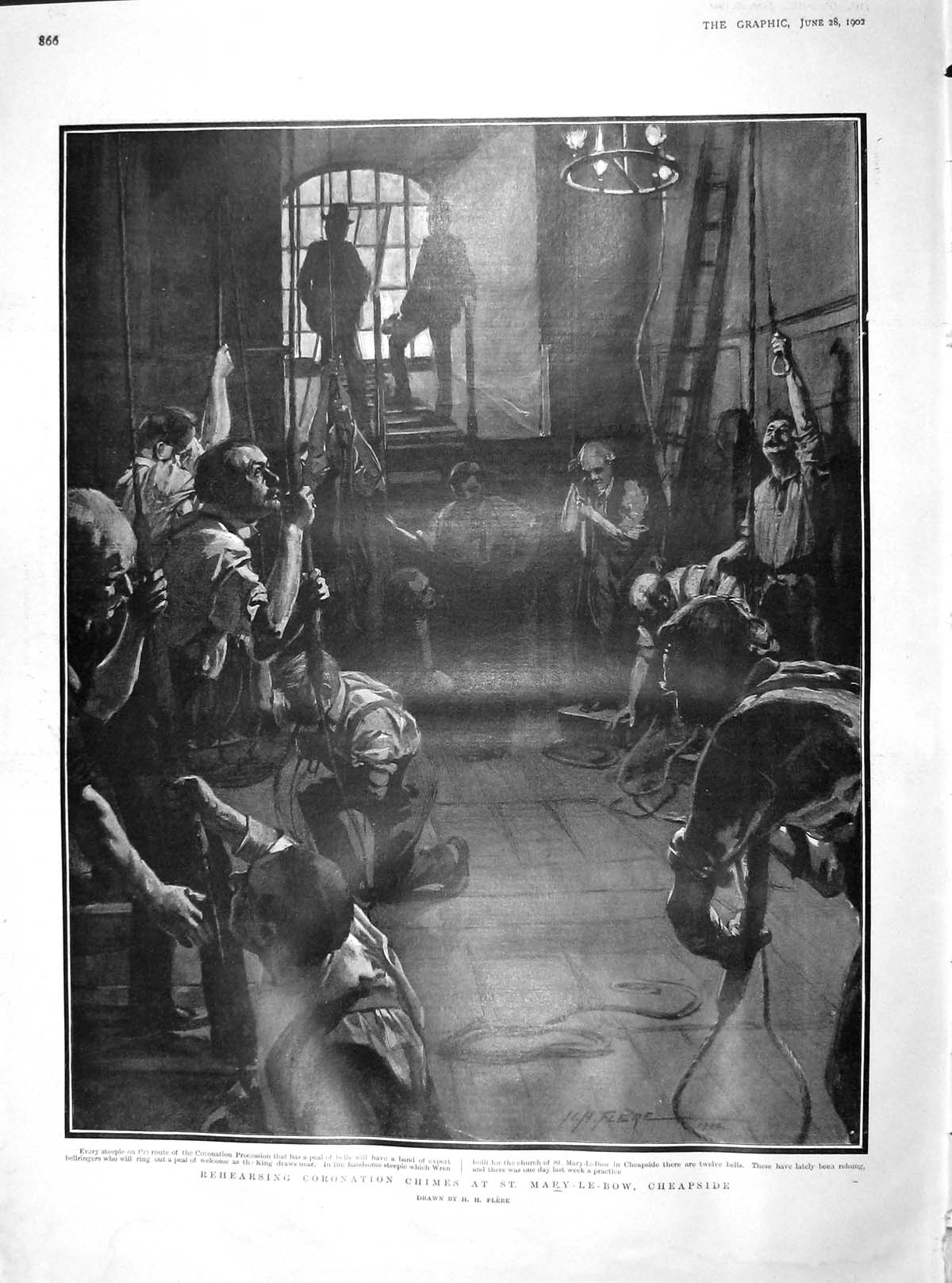 [Print 1902 Rehearsing Coronation Chimes Mary-Le-Bow Cheapside  Old Original]
