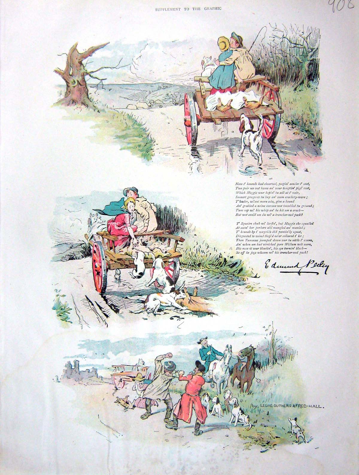 [Print 1902 Colour Country Cart Horse Dogs Hunting 908M165 Old Original]
