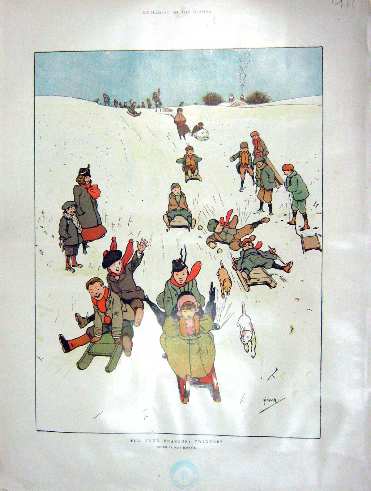 [Print 1902 Colour Winter Amusements Sledging Spring 911M165 Old Original]