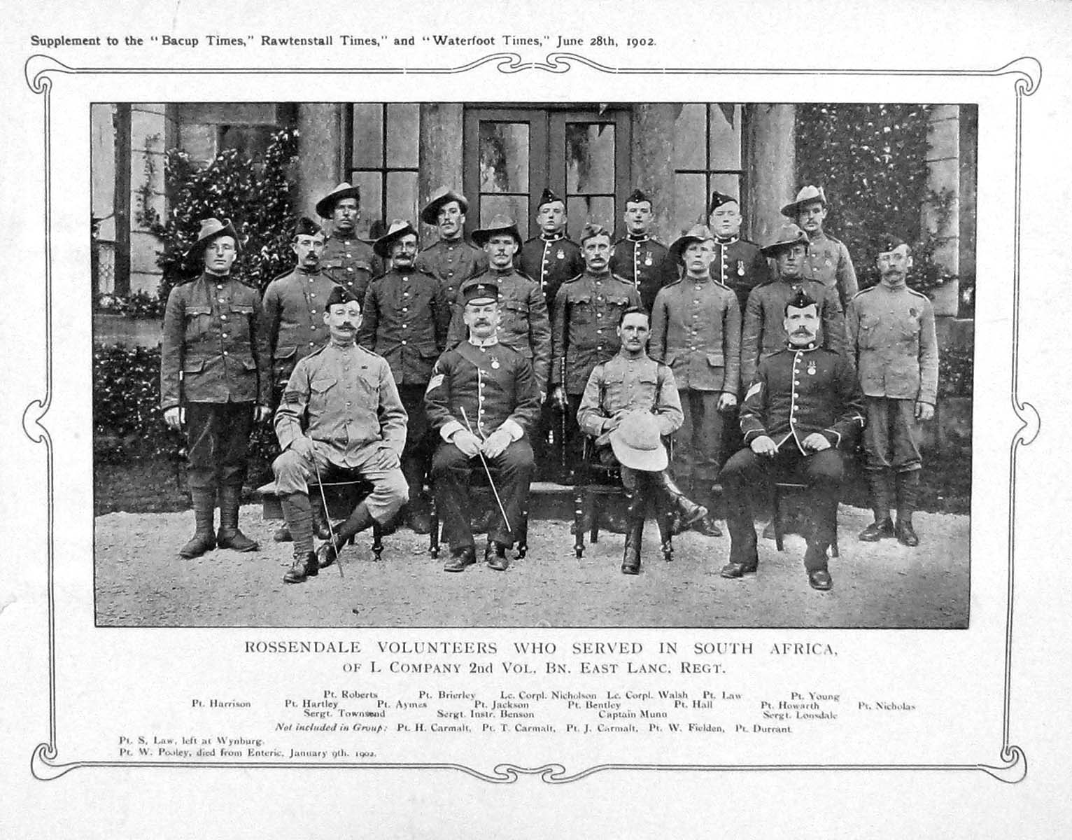 [Print 1902 Rosendale Volunteers Africa Nicholson Bentley War 938M165 Old Original]