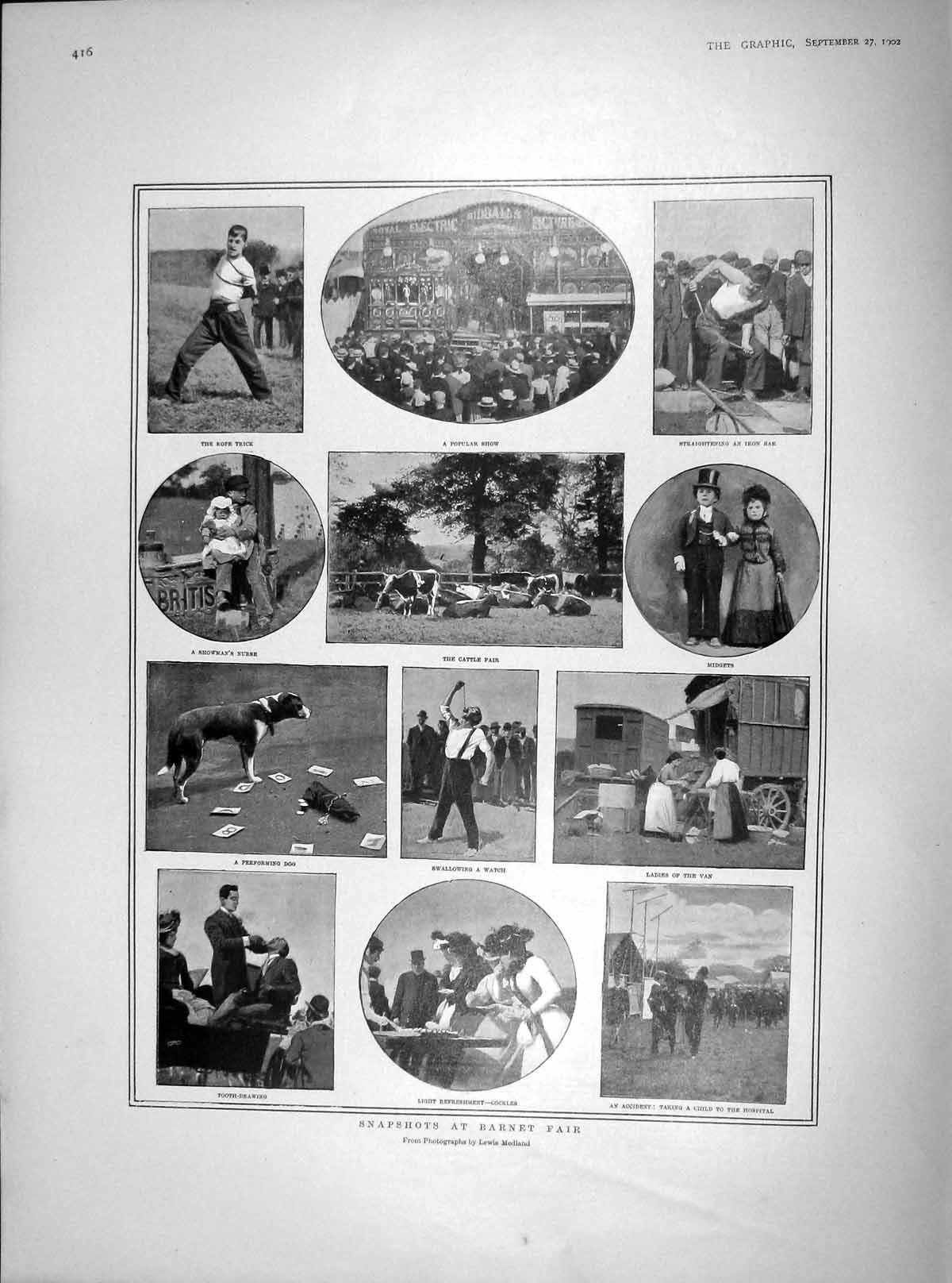 [Print 1902 Barnet Fair Cattle Cockles Performing Dog Show 416M166 Old Original]