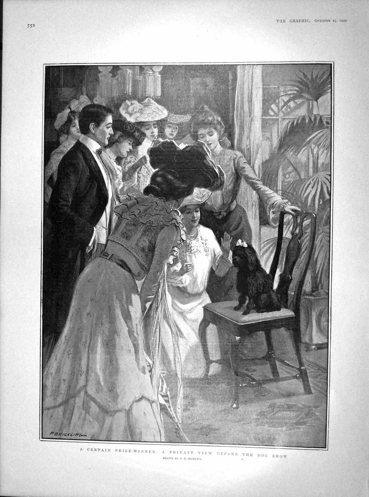 [Print 1902 Private View Dog Show Franco-Chinese Wedding Paris  Old Original]