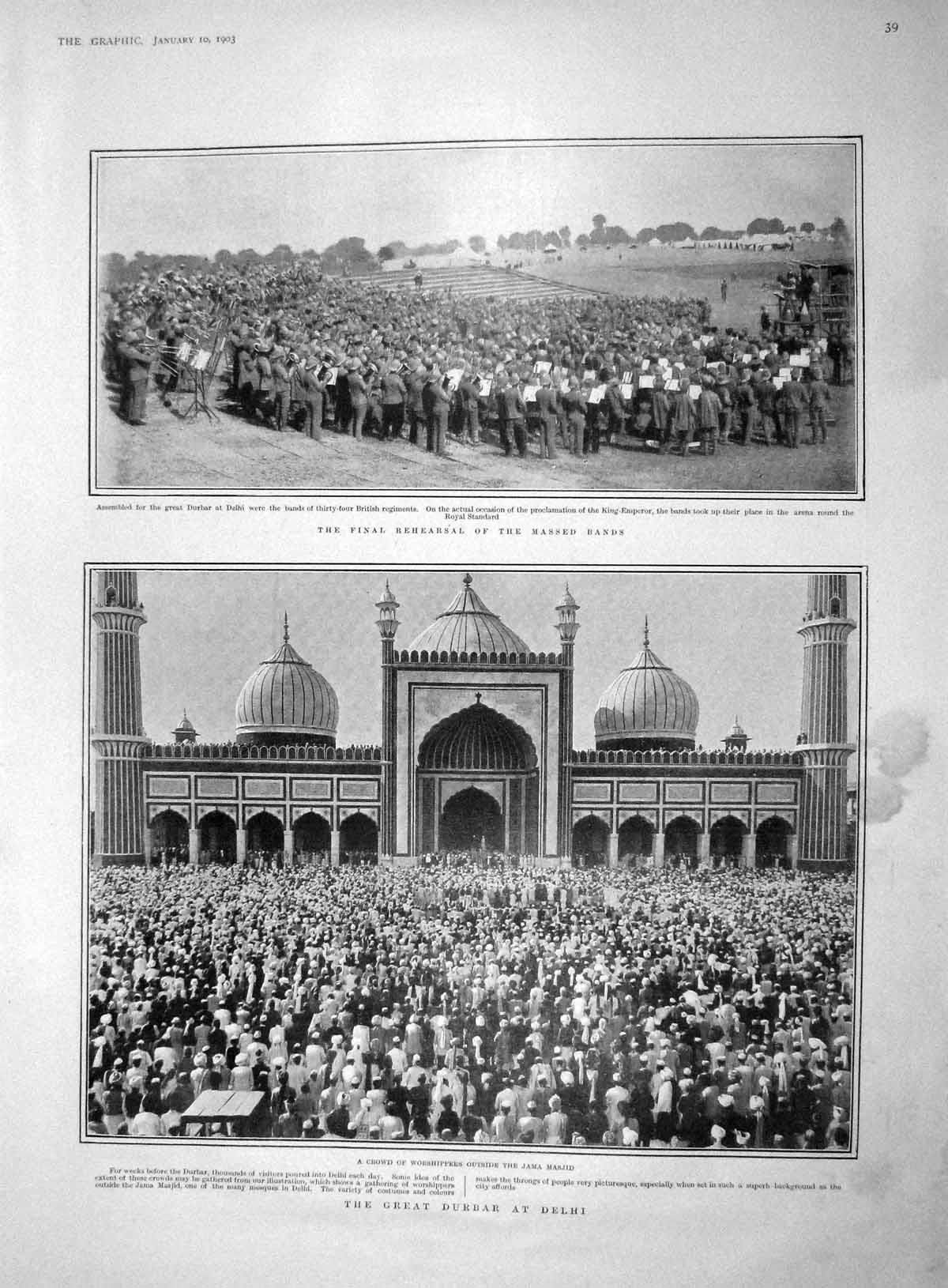 [Print 1903 Durbar Delhi India Jama Masjid Palace Petersburg 039M167 Old Original]