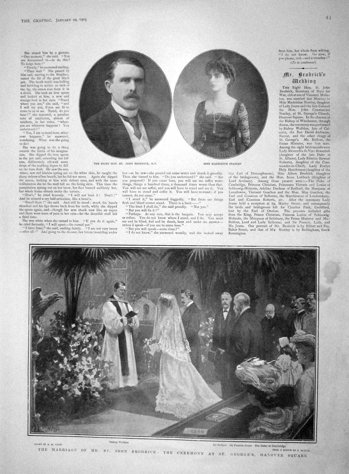 [Print 1903 Wedding Brodrick Balfour Stanley Delhi Lady Curzon 043M167 Old Original]