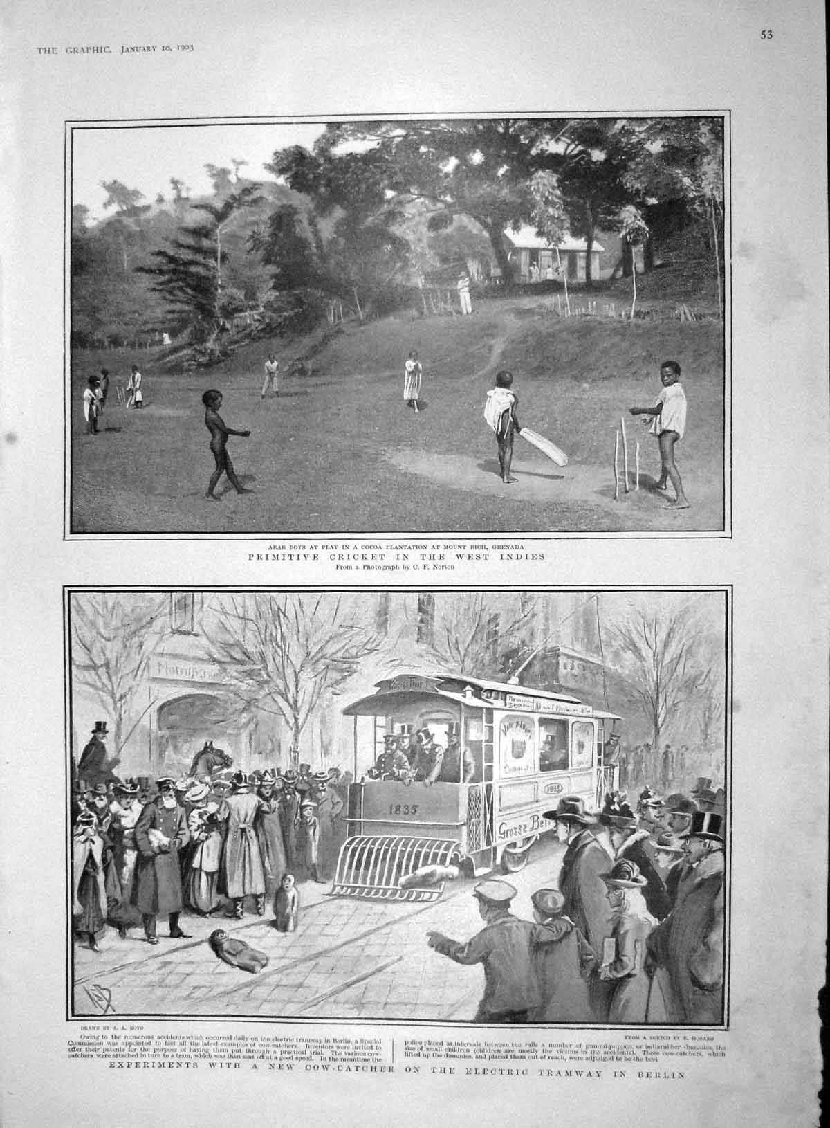 [Print 1903 Cricket West Indies Electric Tramway Ships Gazelle 053M167 Old Original]