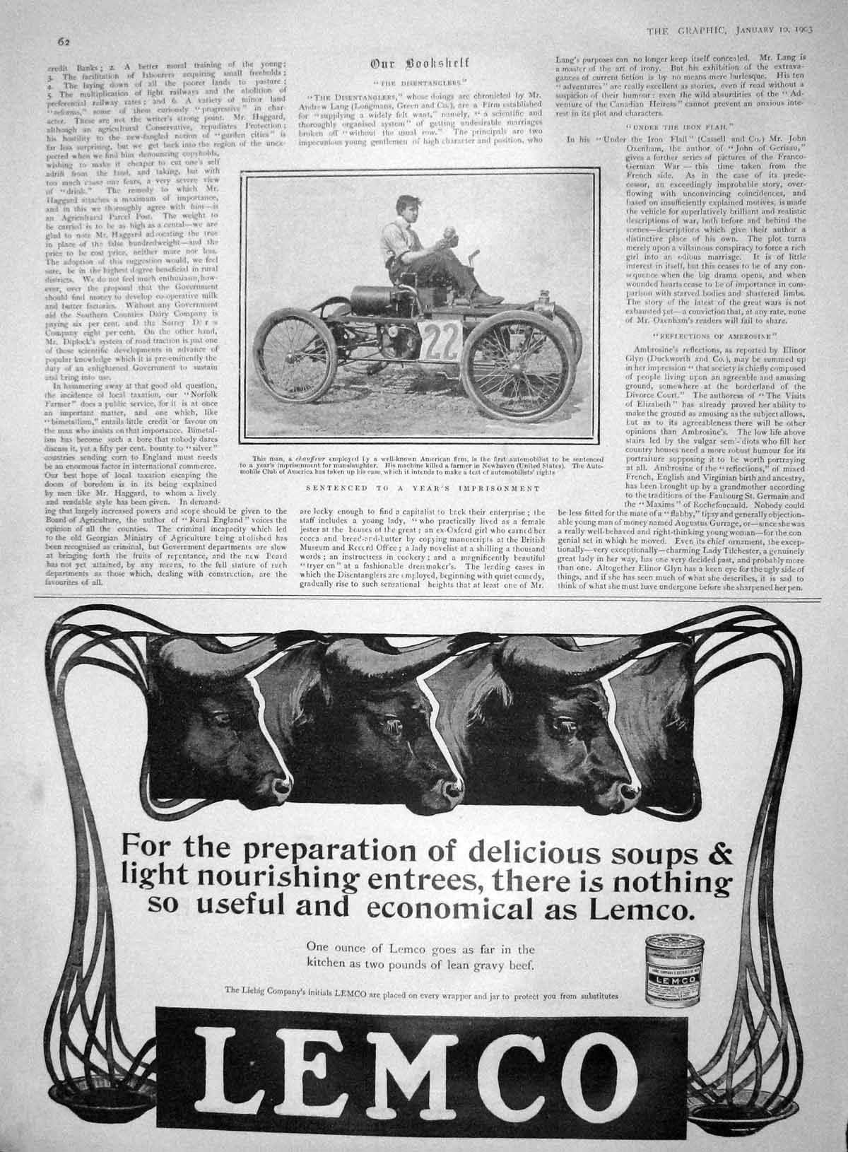 [Print 1903 Chaffeur America Motor Car Lemco Sunlight Soap 062M167 Old Original]