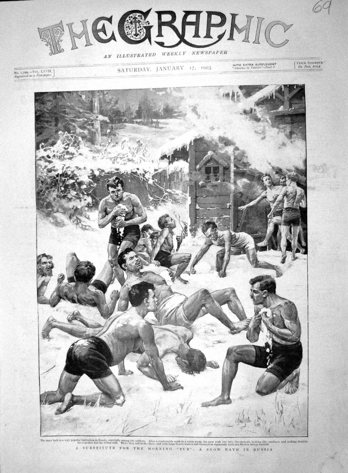 [Print 1903 Snow Bath Soldiers War Russia Washing 069M167 Old Original]
