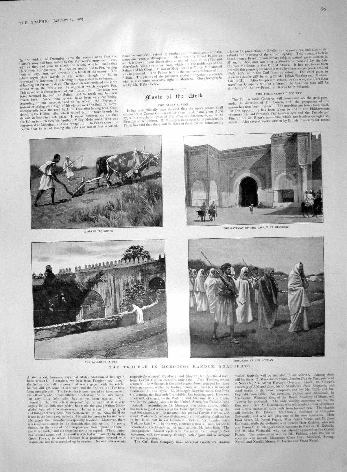 [Print 1903 Morocco Be Roudan Palace Mequinez War Memorial 089M167 Old Original]