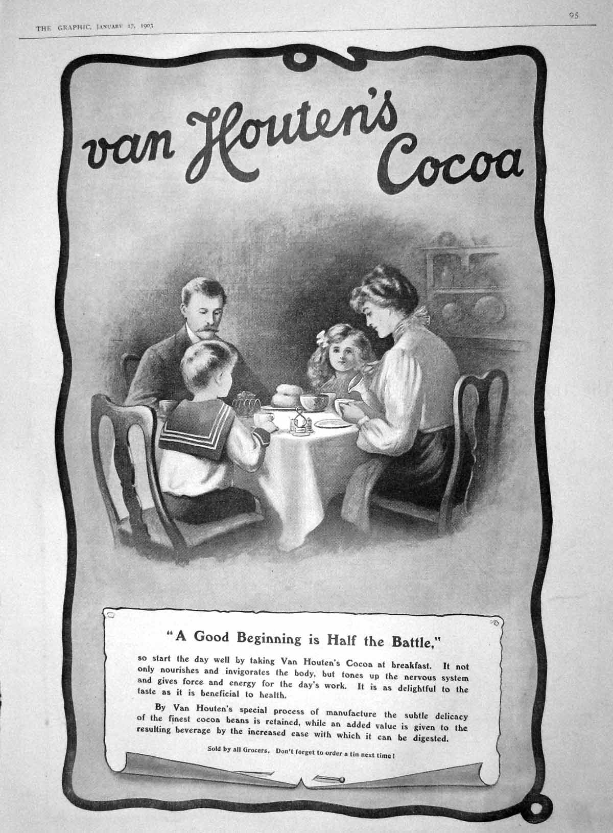 [Print 1903 Advertisement Van Houten'S Cocoa Chocolate 095M167 Old Original]