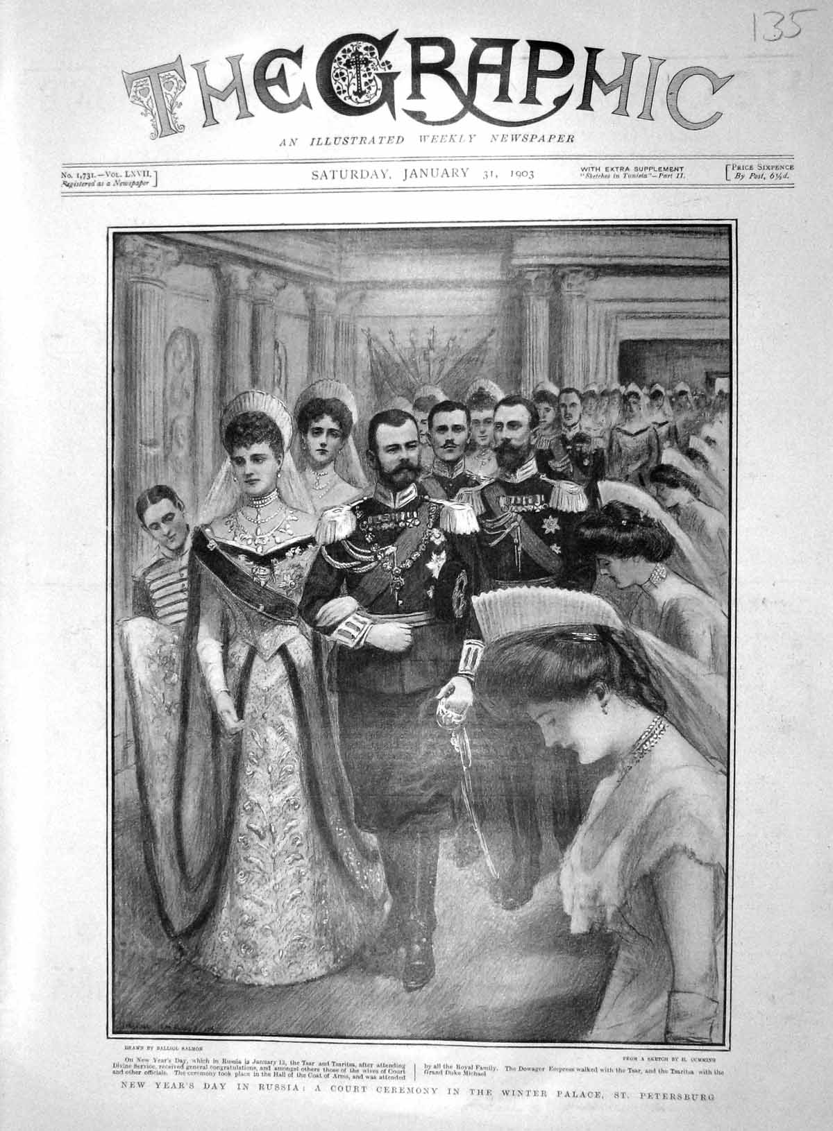 [Print 1903 New Year Court Ceremony Winter Palace Petersburg 135M167 Old Original]